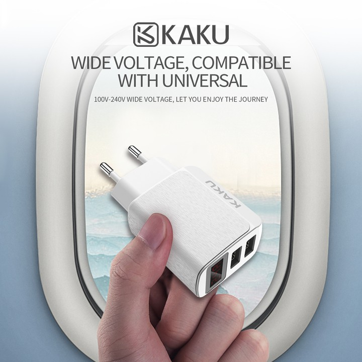 Cốc sạc nhanh KAKU 2 cổng 5V-2.4A dock sạc cục sạc nhanh củ sạc nhanh (Bảo vệ mạch điện - Màn hình LED)