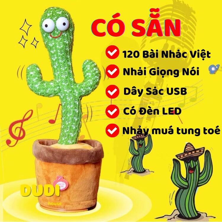 Xương rồng nhảy múa vui nhộn – 120 bài nhạc Việt nhại giọng có sạc usb – đồ chơi văn phòng bàn làm việc – DUDHOUSE