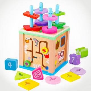 [NICE]Wooden Toy Multi-function Pillar-wrapped Jewelry Box Shape Recognition Matching Puzzle Chi