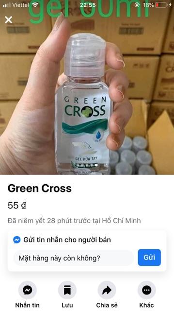 Gel rửa tay diệt khuẩn Greencroos 60ml(có sẵn) xuất hoá đơn đỏ