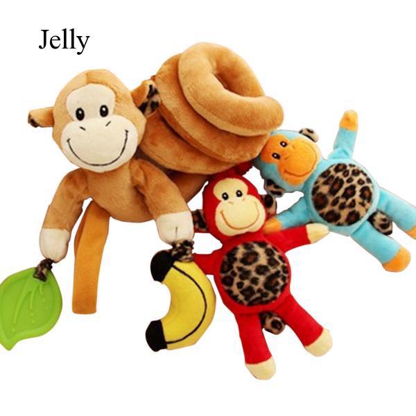 Baby Plush Monkey Hanging Toy for Bed Crib Stroller J712