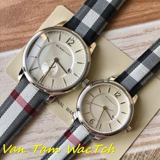 Đồng hồ đôi nam nữ Burberry bu1002 40mm,bu1003 32mm máy Thụy sĩ quartz, mẫu mặt tròn màu trắng, dây da cao cấp thumbnail