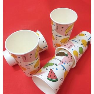 50 Ly Giấy In Hình Trái Cây 22oz - 650 ml Có Nắp Ly giấy đựng trà sữa Ly giấy 700ml Cốc giấy Ly giấy cafe thumbnail