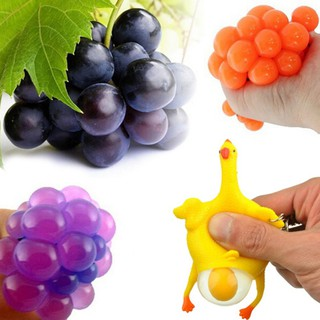 Colossal Squishy Mesh Grape Ball Chicken Egg Slow Rising Toy Stress Relief
