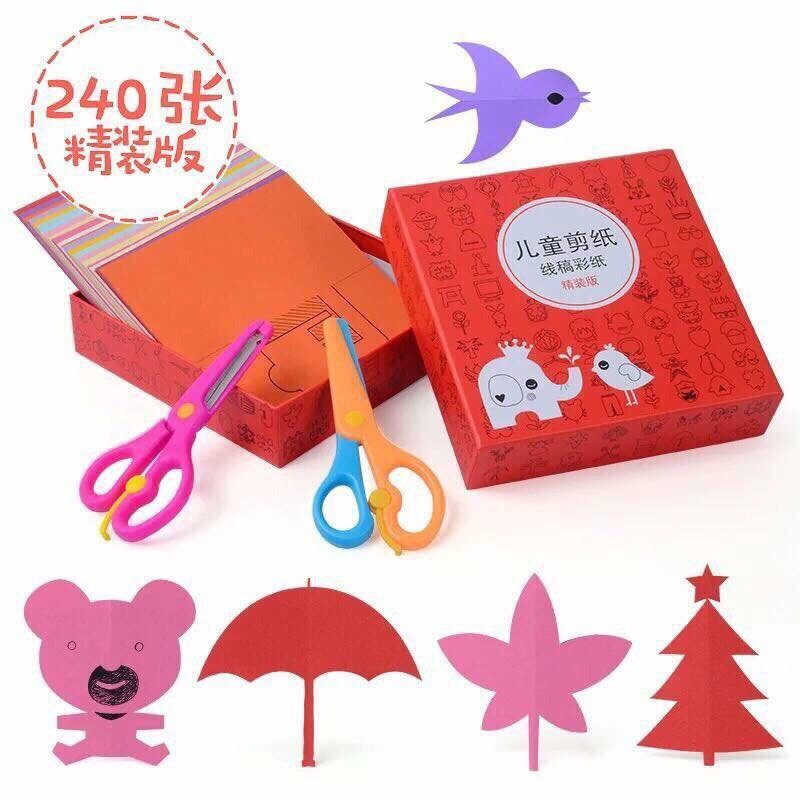 [HÀNG MỚI] Bộ đồ chơi cắt giấy thông minh 240 tờ kèm 2 kéo.