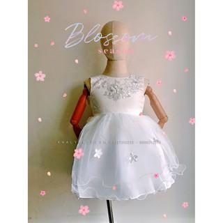 Đầm sát nách công chúa cao cấp, dự tiệc bé gái voan kết ren phối lưới thêu hoa, màu trắng size T2,T4,T6 - (Quảng Châu)