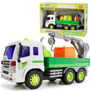 Xe ô tô chở hàng có cẩu móc xe đẩy trớn có âm thanh và đèn – Xe đồ chơi trẻ em tỉ lệ 1:16