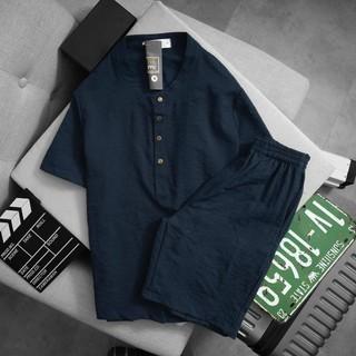 Bộ quần áo nam chất đũi Thái cao cấp mát nhẹ (quần short, áo cổ Tàu) (BD139)