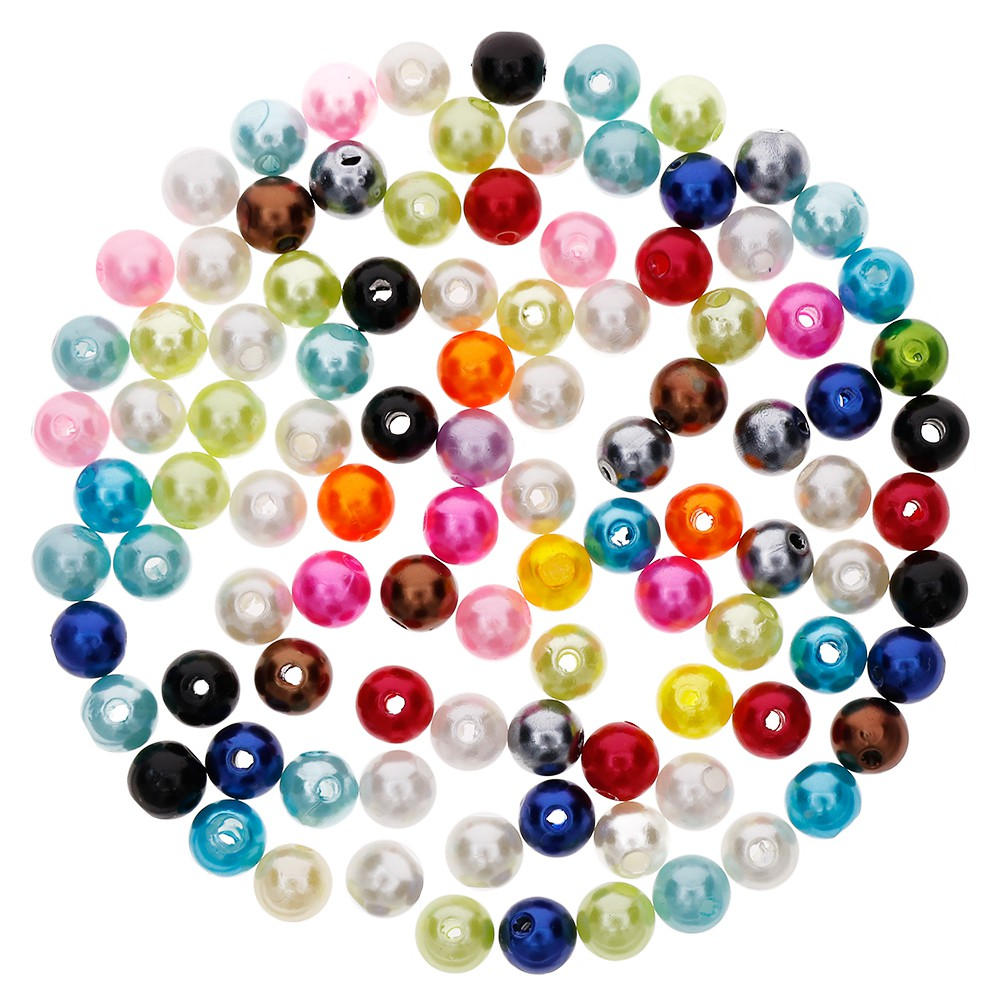 100Pcs 6mm DIY Acrylic Simulated Pearl Beads for Jewelry Making