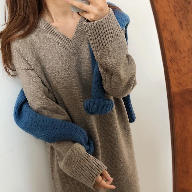 Đầm nữ dáng ôm tay dài cổ chữ V phong cách Hàn Quốc - 22656469 , 2593657214 , 322_2593657214 , 429833 , Dam-nu-dang-om-tay-dai-co-chu-V-phong-cach-Han-Quoc-322_2593657214 , shopee.vn , Đầm nữ dáng ôm tay dài cổ chữ V phong cách Hàn Quốc