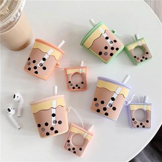 Vỏ bảo vệ hộp sạc tai nghe airpods hình ly trà sữa xinh xắn