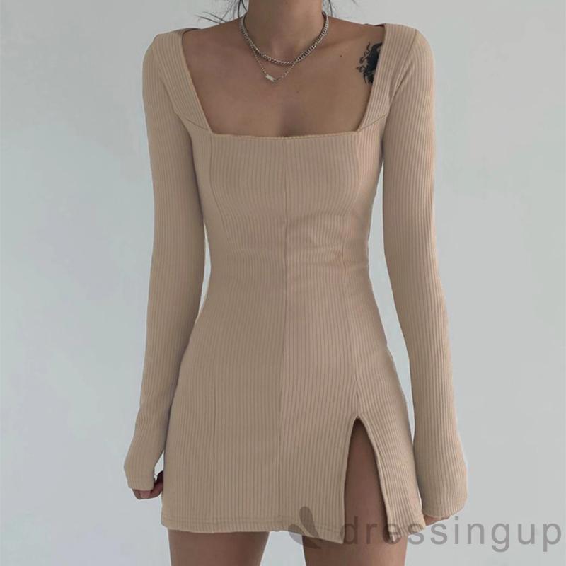 Đầm tay dài cổ vuông đơn màu dành cho nữ