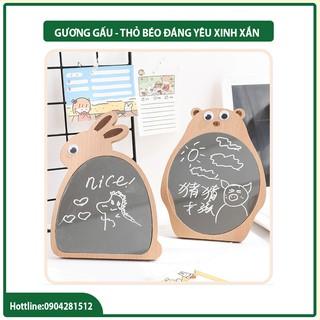 Gương gỗ Hàn Quốc tặng kèm bút vẽ – Gương để bàn trang điểm – Đồ decor vintage – summernature182