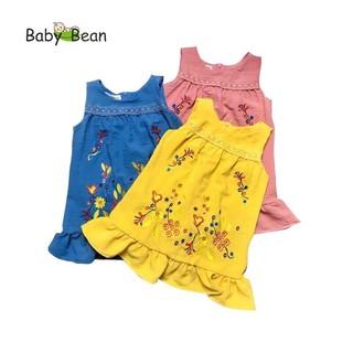 Đầm Đũi Bèo Lai Thêu Hoa bé gái BabyBean