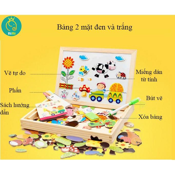Đồ chơi trẻ em thông minh, Bảng chữ cái, số đếm, động vật xếp hình gắn nam châm cho bé từ 3 tuổi.