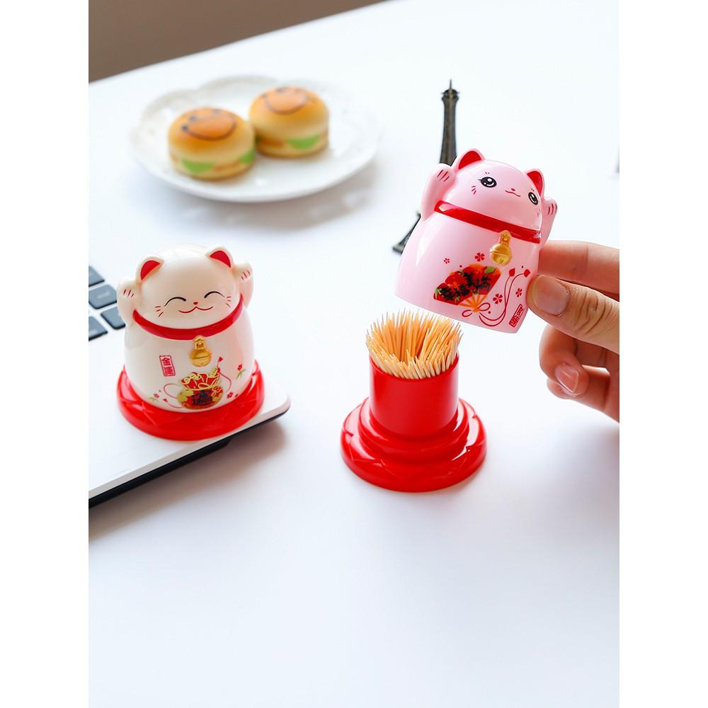Cartoon cute pink lucky cat toothpick holder household plastic toothpick jar restaurant creative personality toothpick b