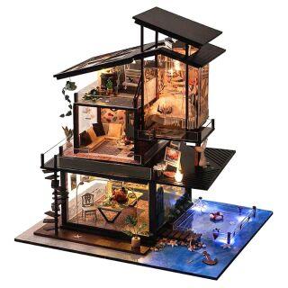 Kèm Mica và keo 90ml – Mô hình nhà gỗ búp bê dollhouse DIY – TB13 Vanlencia coast