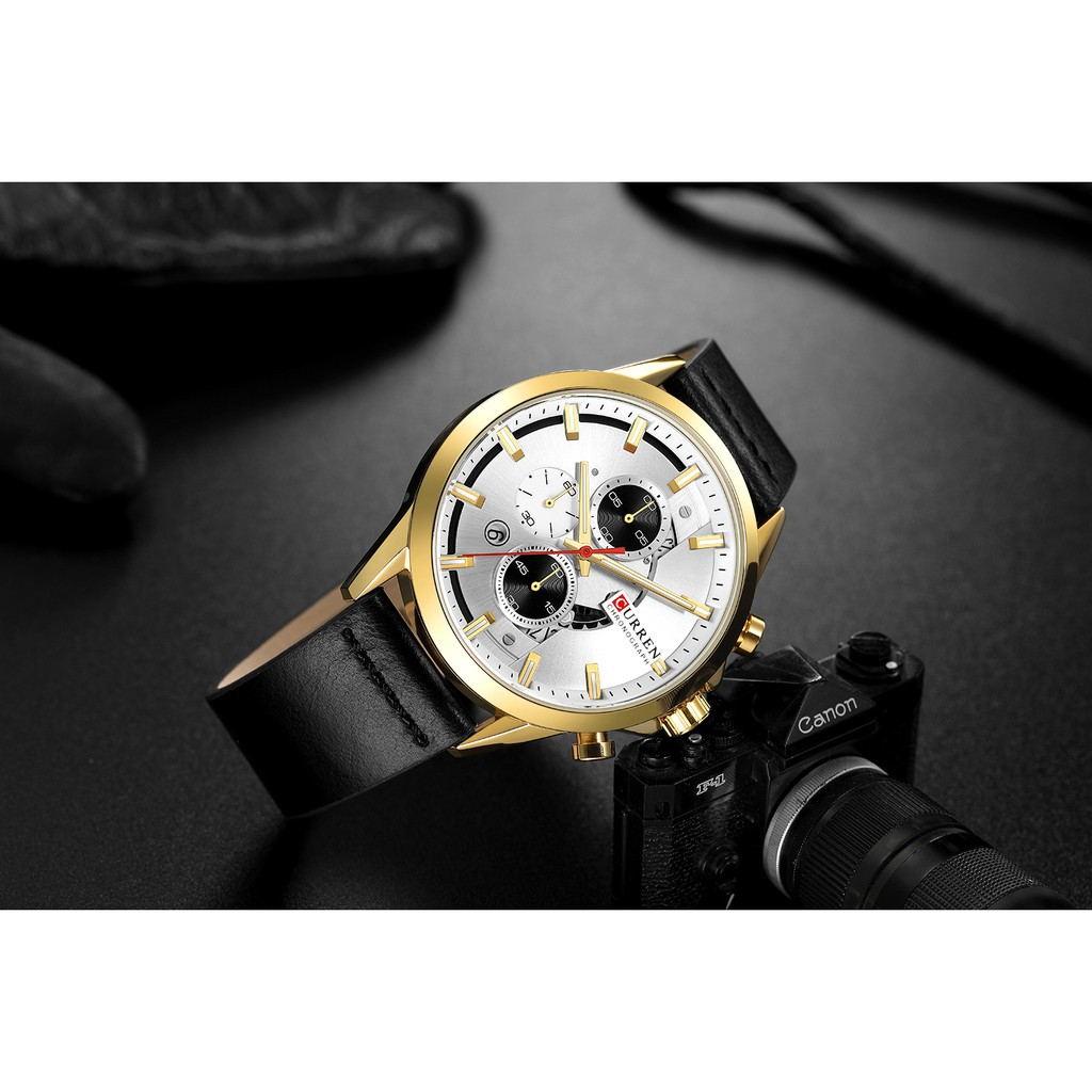 Đồng hồ Quartz Curren 8325l chống thấm nước dây đeo da thời trang tinh tế