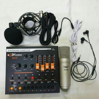 Combo bộ mic thu âm hát livestream ISK AT100 + sound card V11 + tặng tai nghe