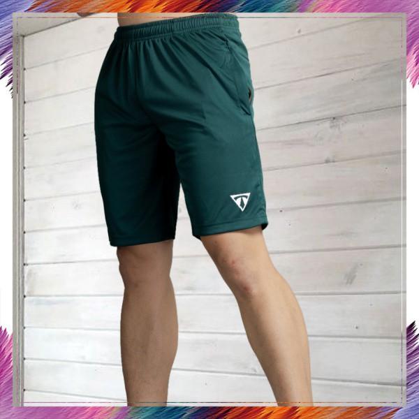 Quần Thể thao Nam BONNIE, quần short vải thun lạnh cao cấp tập gym dáng lửng, thoải mái (rêu)