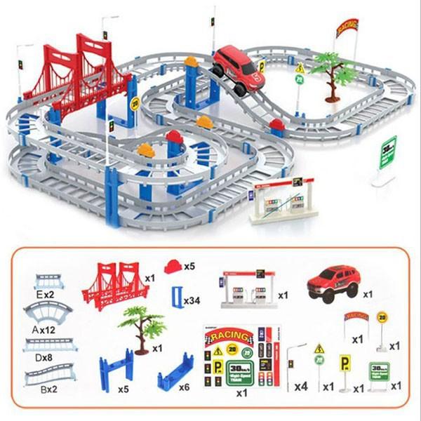 (Miễn phí vận chuyển) Đồ chơi Bộ lắp ráp đường đua ô tô 88 chi tiết - đường ray ô tô đua