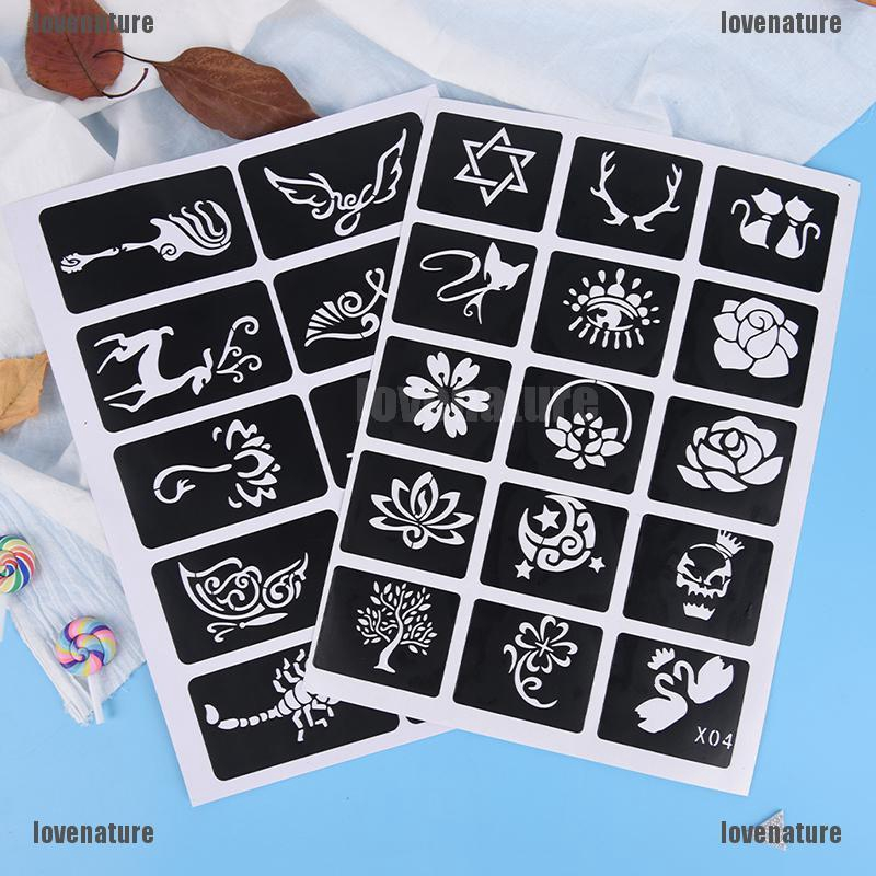 Bộ 10/15 sticker tạo hình xăm giả với nhiều hình ảnh ngộ nghĩnh dễ thương