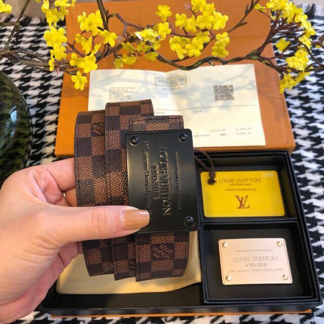 Thắt lưng nam xịn  dây lưng nam ô nâu hai mặt vuông màu đen vàng hàng cao cấp có hộp và túi giấy