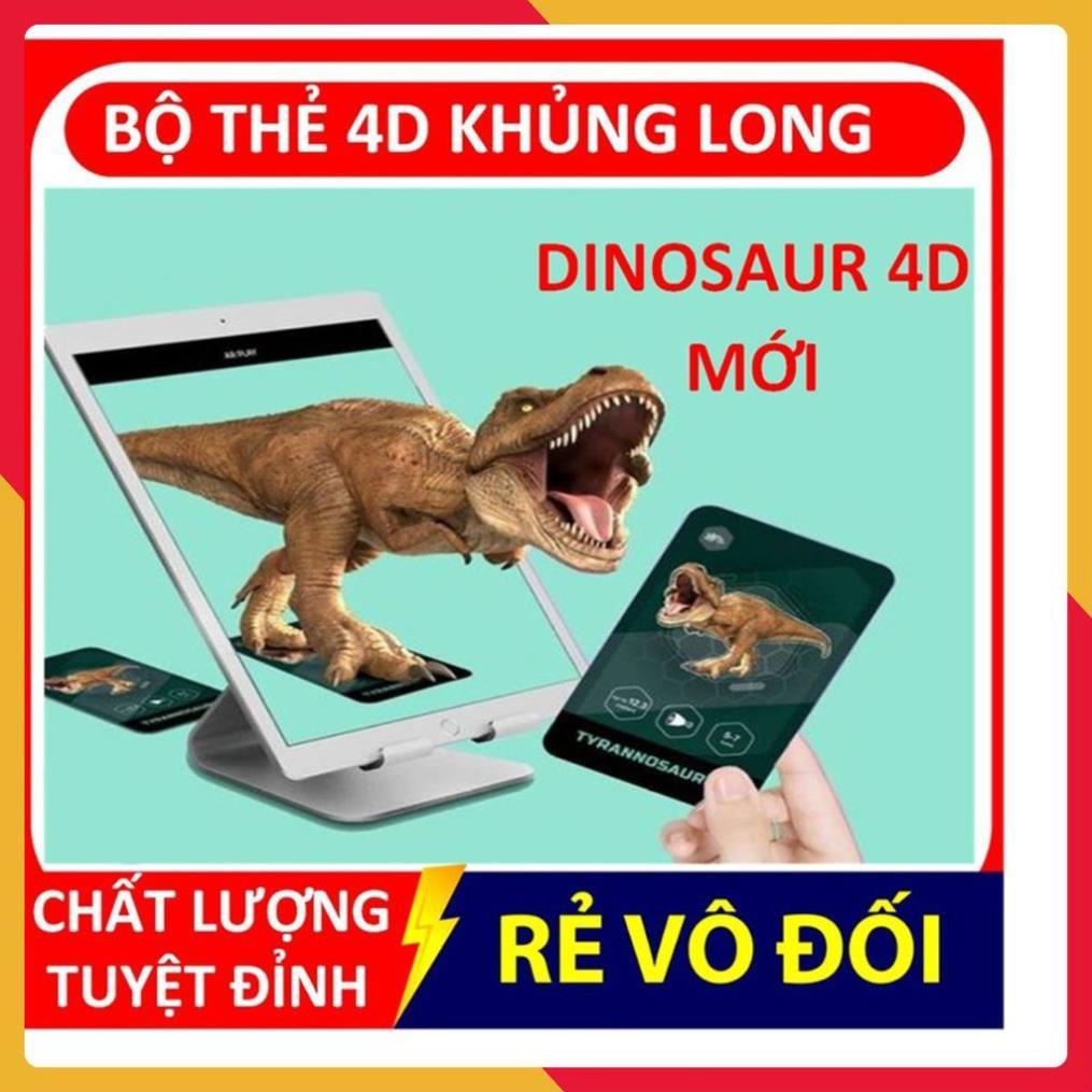 kem123 Bộ thẻ học thông minh💚FREESHIP💚Bộ thẻ 4d khủng long DINOSAUR AR KỈ JURASIC cho bé yêu khám phá