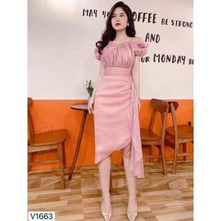 V1663 váy chính hãng DVC – váy body hồng trễ vai, vạt chéo V1663 Xinh