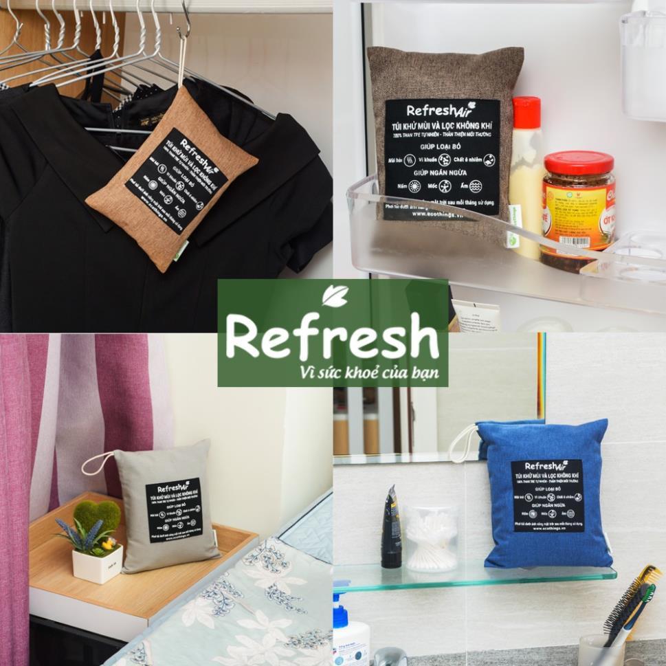 Túi than hoạt tính diệt khuẩn khử mùi lọc không khí cho phòng khách, ngủ, … 100% than tre tự nhiên - REFRESH AIR