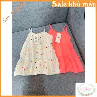 Bán sỉ Sét 2 váy cotton 2 dây màu cam- trắng chấm bi cho bé gái thumbnail