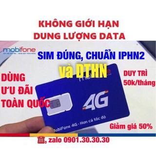 Sim 4G Mobifone [DTHN] [IPHN2] MAX KHÔNG GIỚI HẠN DUNG LƯỢNG DATA DÙNG TOÀN QUỐC
