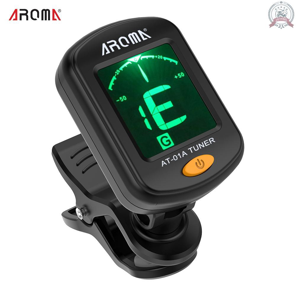 J&F AROMA AT-01A Rotatable Clip-on Tuner LCD Display for Chromatic Guitar Bass Ukulele Violin