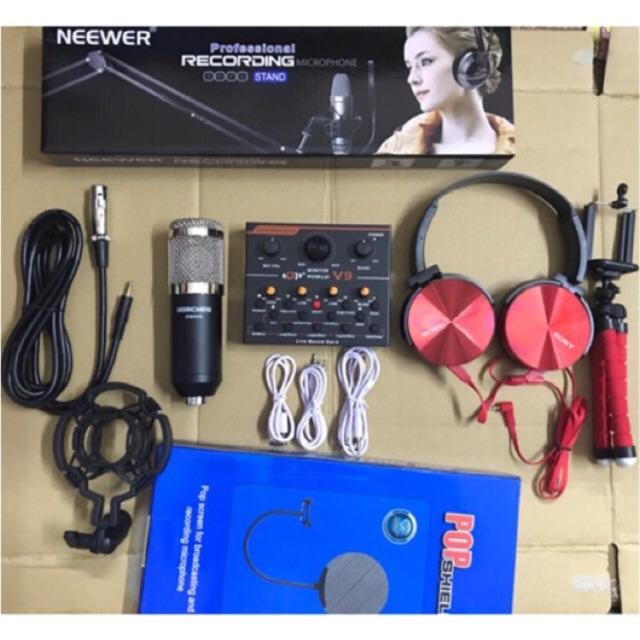 Combo sound v9 quốc tế Mic Woaichang BM900 tặng tai nghe chụp tai