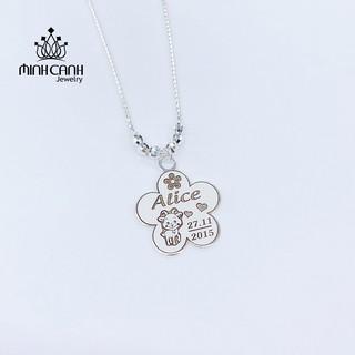 Dây Chuyền Bạc Khắc Tên Dây Trơn Mix Bi Cho Bé Gái - Minh Canh Jewelry