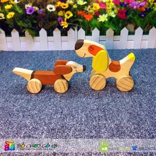 [FOLLOW 2B] Đồ chơi gỗ 100% Handmade Chú chó gỗ sử dụng bánh xe đẩy