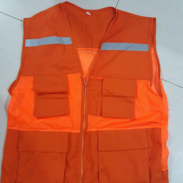 Áo gile kĩ sư túi hộp màu cam có phản quang | Shopee Việt Nam