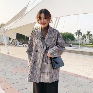 Áo Khoác Len Mỏng Dáng Rộng Kẻ Sọc Kiểu Hàn Quốc Thời Trang Cho Nữ 2020