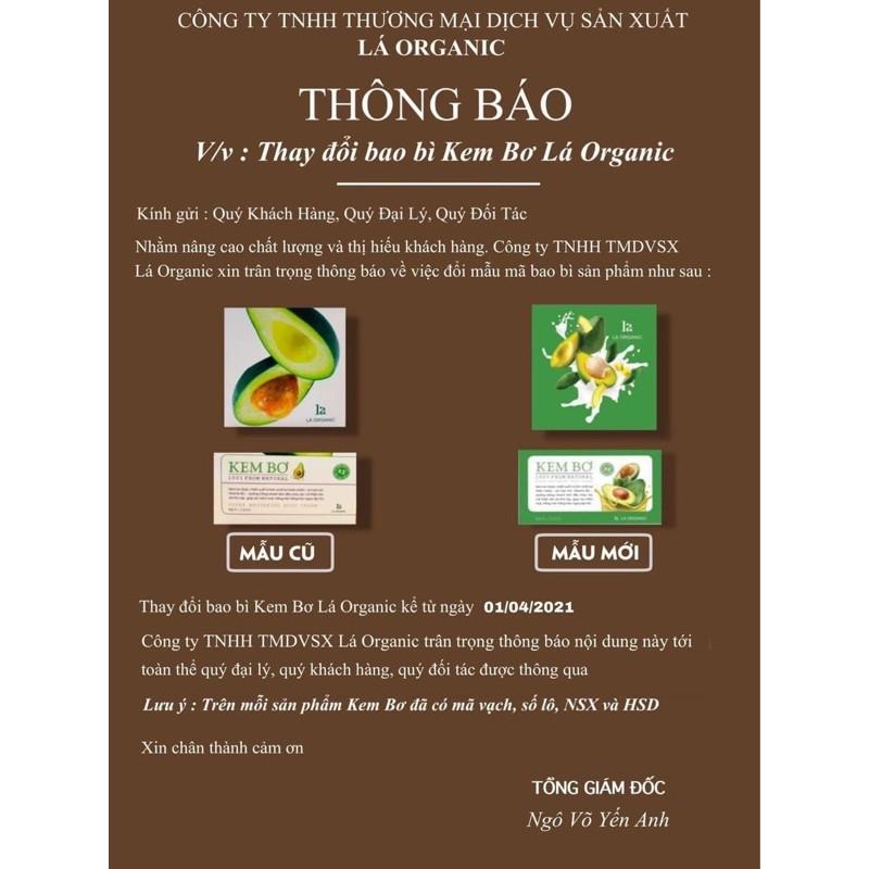 [CHÍNH HÃNG]Kem Body Bơ Lá Organic 2020 Siêu Dưỡng Trắng [CHẤT KEM SỮA CHUA, MỊN, KO BẾT]