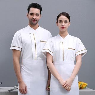 Áo đầu bếp tay ngắn thiết kế trẻ trung hợp thời trang cho nam
