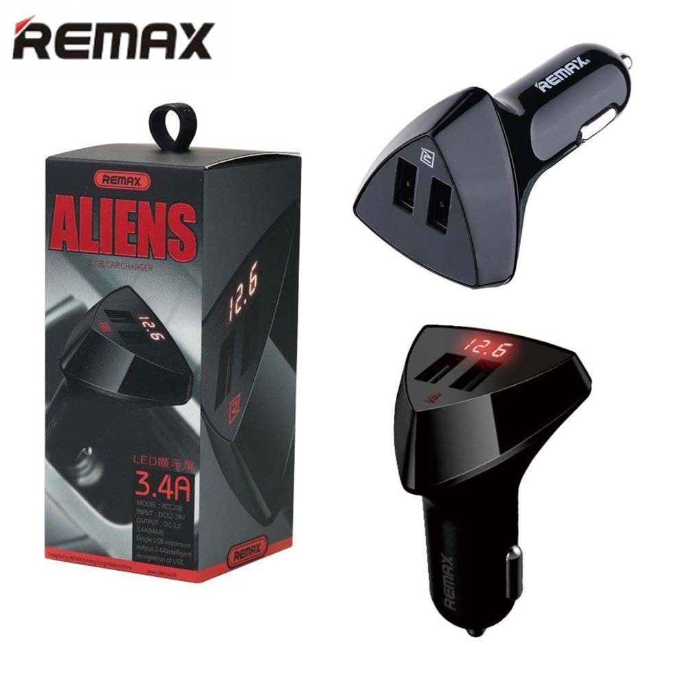 Tẩu sạc Cao cấp Remax Aliens Thông Minh, 2 cổng USB, dòng ra Max 3.4A, có đèn LED báo điện áp