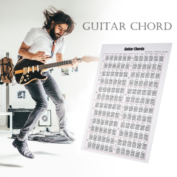 Acoustic / Electric Guitar Chord & Scale Chart Poster Tool Lessons Music Learning Aid Reference Tabs Chart