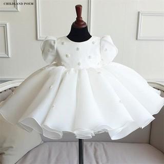 Đầm công chúa satin trắng đơn giản cho bé từ 1 – 12 tuổi