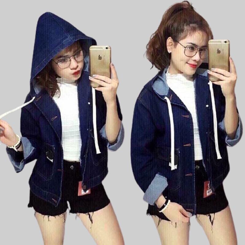 Áo khoác jean nữ có nón phom rộng 60kg, vải jean denim dày dặn, 3 màu