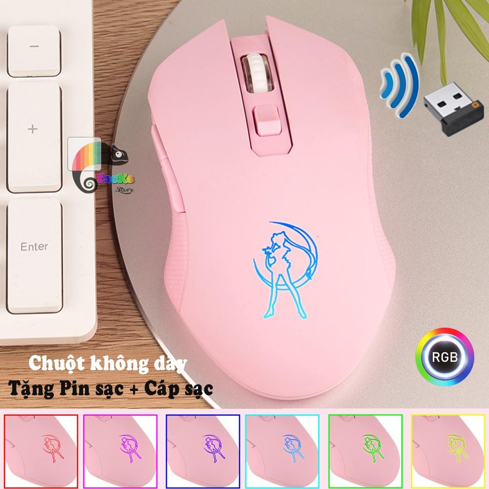Chuột game thủ màu Hồng không dây, RGB Led, Dream Pink I Wriless Pink Gaming Mouse RGB LED