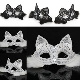 Mặt nạ nửa mặt mèo đính kim sa có lông vũ dạ hội quý phái sang trọng 2019