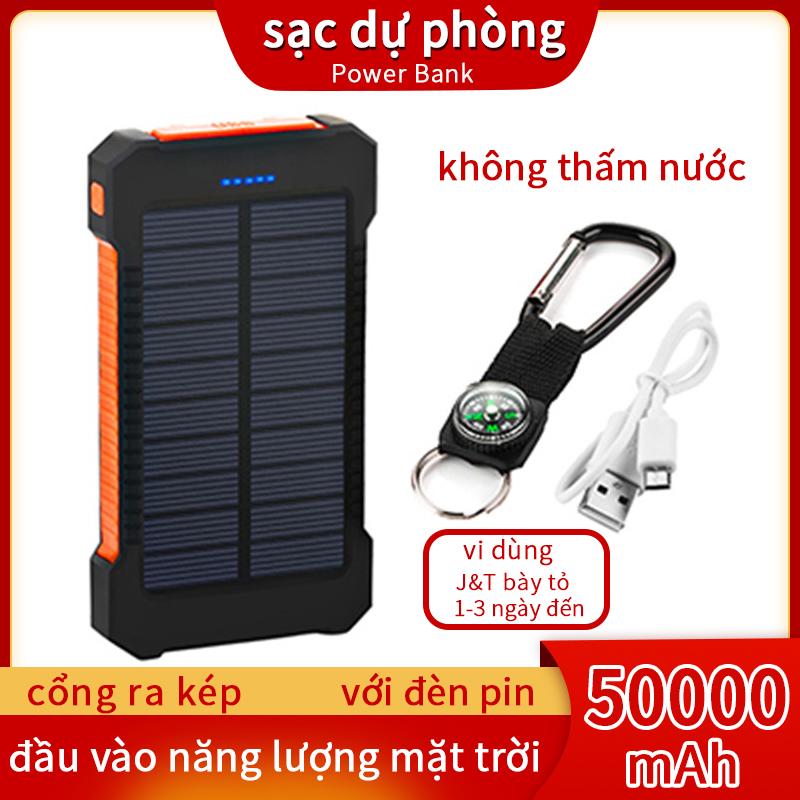Sạc dự phòng sử dụng năng lượng mặt trời 50000mAh 2 cổng USB thiết kế không thấm nước