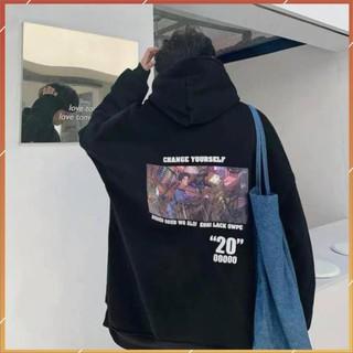 1hitshop Áo khoác hoodie in Change Youself nam nữ, áo hoodie change unisex 2 màu trắng đen