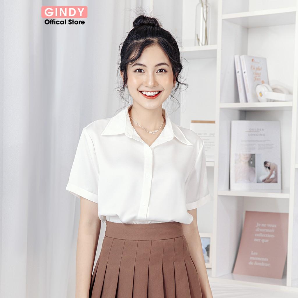 Mặc gì đẹp: Phong cách với Áo sơ mi nữ lụa trơn tay ngắn GINDY form rộng cổ bẻ sơmi kiểu Hàn Quốc thời trang công sở, học sinh A5147