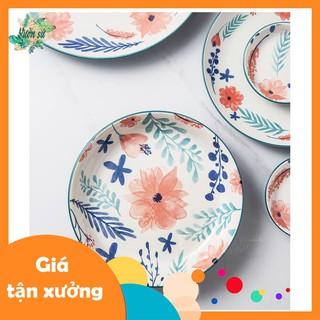 Bát đĩa lẻ họa tiết hoa lá xanh ngọc - VS460